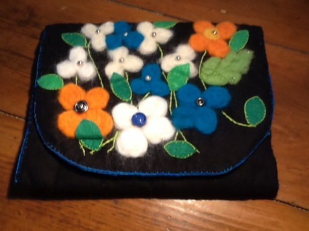 Black Clutch Bag with Felted Flowers