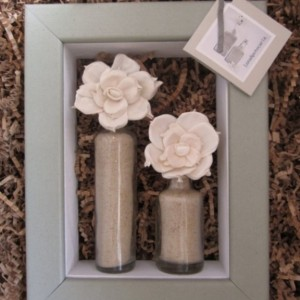 SOLD!!! Repurposed Shadow Box with Antique, Apothecary Glass Bottle and Tapioca Wood Flower Display