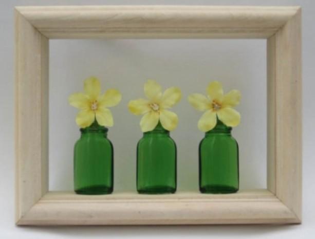 Shadow Box Art Green Glass Bottles And Yellow Silk Flower Wall De Aftcra