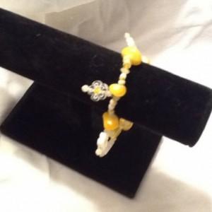Yellow Daisy Elastic Bracelet