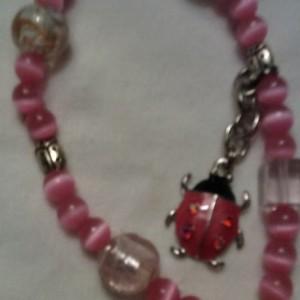 Pink Ladybug Elastic Bracelet
