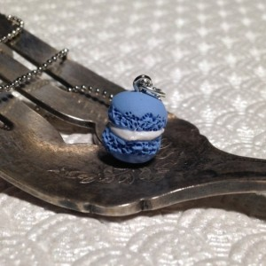 Miniature Baby Blue Macaron Necklace