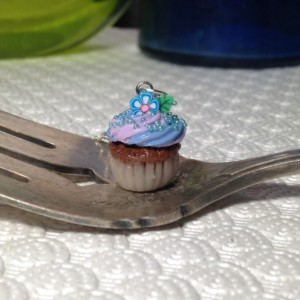 Miniature Blue & Lavender Clay Cupcake Necklace