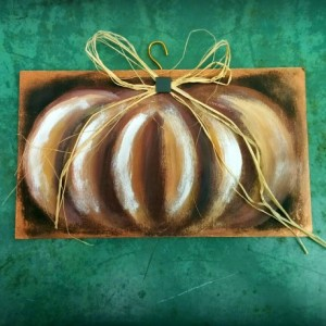 Pumpkin Painting On Large Wooden Plaque