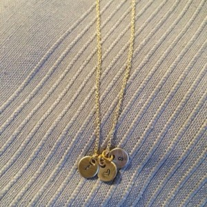 Dainty Gold Initial Necklace with Heart {Also available in silver}