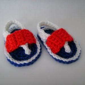 Patriotic Crochet Baby Flip Flop Sandals