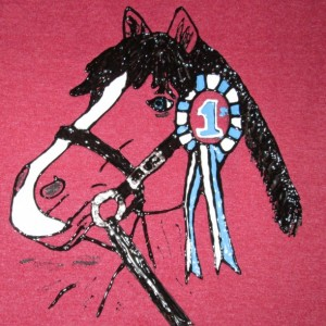 Blue Ribbon Winner, Horse head, Hand painted on SS tshirt, size S/P/CH
