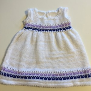 Charming white dress and jacket with pink and blue fairisle design
