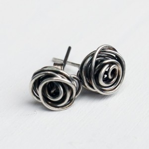 Rose Bud Sterling Silver Earrings, Posts, Oxidized Metal