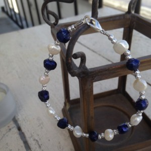 Genuine Freshwater Pearl Bracelet with Silver Beads