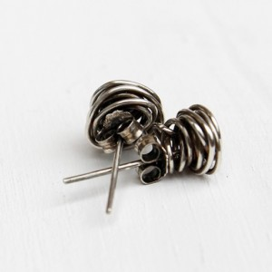 Rose Bud Sterling Silver Earrings, Posts, Oxidized Metal
