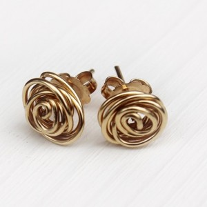 Rose Bud Gold Filled 14K Earrings, Posts