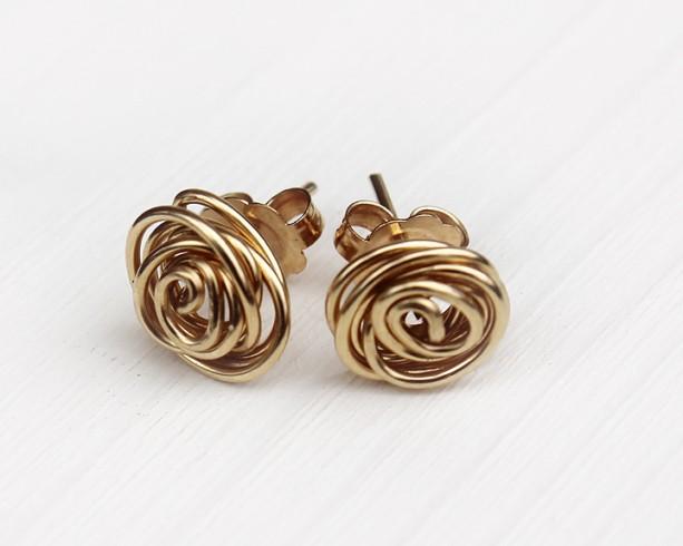 Rose Bud Gold Filled 14k Earrings Posts