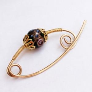 Golden Brass shawl Scarf pin with lampwork bead