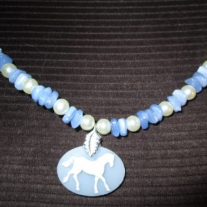Oval Porcelain Cameo Horse pendant necklace with pearls and lazuli beads& more