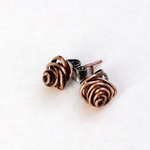 Rose Bud Copper Earrings, Posts