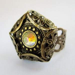 Vintage antiqued brass Adjustable Ring