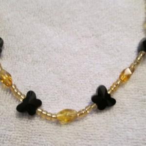 Handmade Black Butterfly Charm necklace & bracelet, onyx, sterling silver,jade