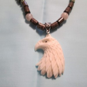 Hand carved Eagle, natural buffalo bone pendant necklace