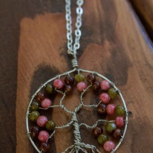 Pink, Brown, Green Tree of Life Pendant