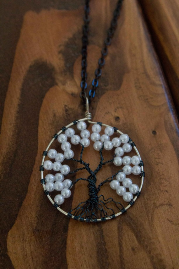 Black and White Tree Of Life Necklace