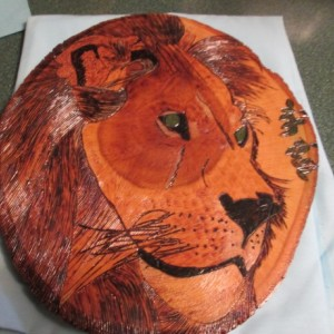 woodburning- Male Lion or White Bengal Tiger wall hanging