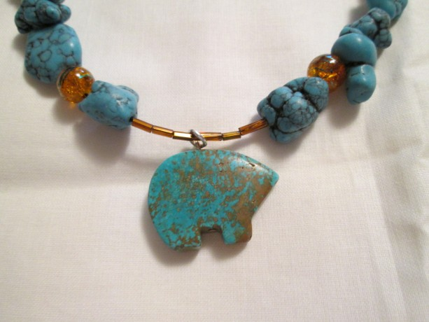 Hand made Turquoise Zuni Bear Pendant necklace and more
