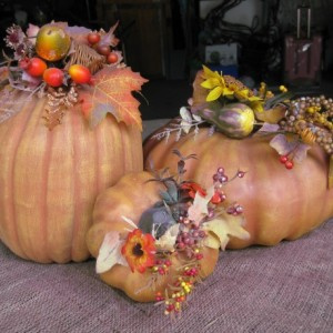 3 Piece Ceramic Pumpkins with Florals