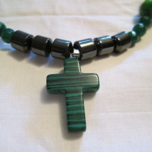 Hand made malachite cross pendant necklace