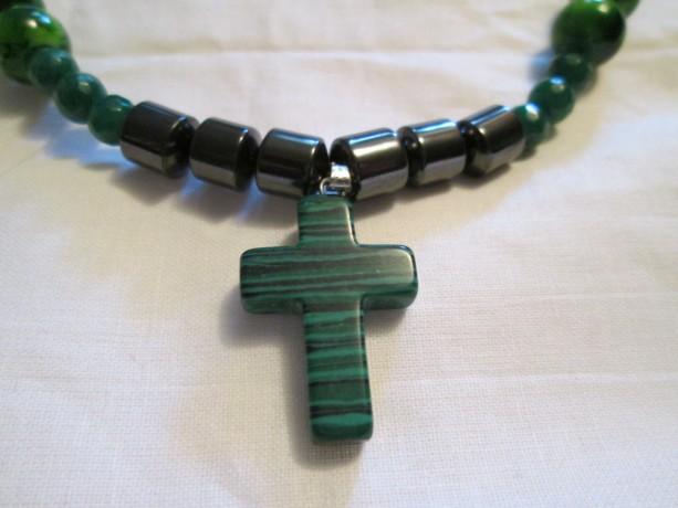 Hand made malachite cross pendant necklace
