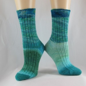 Shades of the Caribbean Blue Hand Cranked Socks-Free Shipping