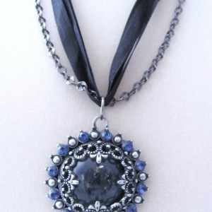Upcycled Ribbon and Chain Moroccan Inspired Pendant Necklace Blue