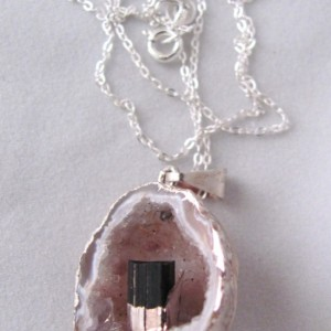 Quartz Geode Pendant Necklace Black Tourmaline Sterling Chain Geode Necklace Quartz Necklace Geode Jewelry