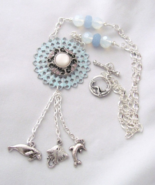 Manatee Manta Ray Dolphin Tassel Necklace Sea Creatures Mermaid Clasp Manatee Necklace Ray Necklace Dolphin Necklace