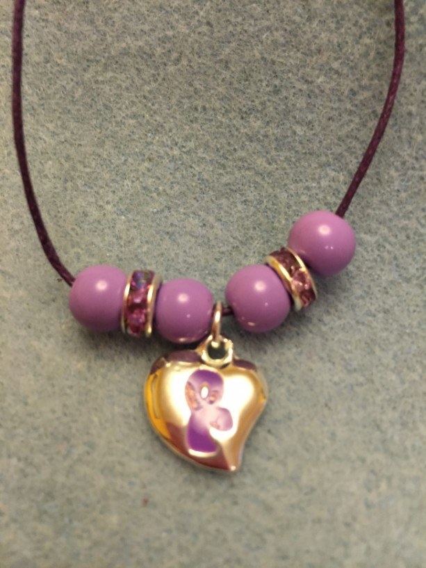 Puffy Purple Ribbon Charm Necklace