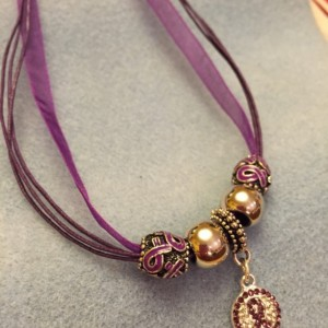 Purple Ribbon Sparkle Necklace