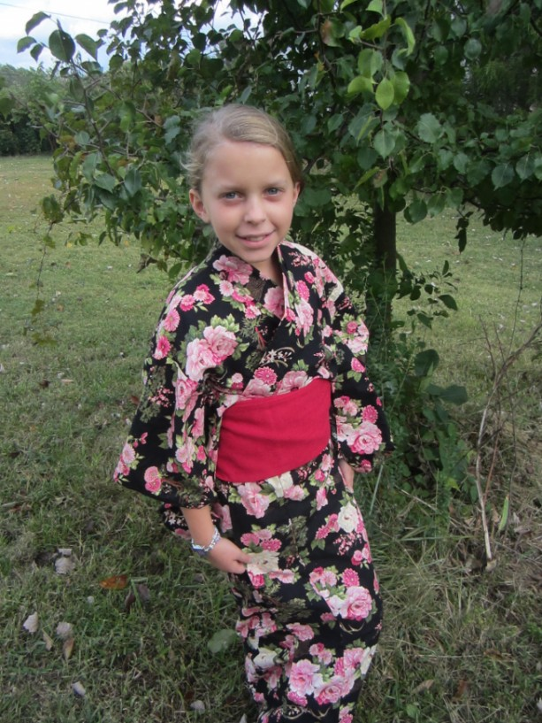 Made to Order Unisex Children's Custom Fabric Yukata/ Kimono With Mori-chan style Tsuke Obi set