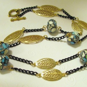 Cool Color Stone Beads and Gold Leaves Necklace with Black Chain