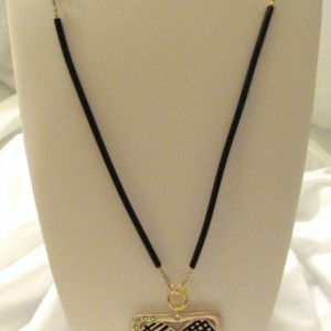 Gold Heart Necklace with Black Rubber, Handmade Chain and Hints of Green