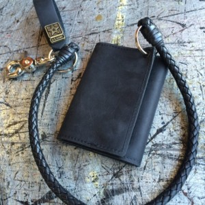"Mens Basic Trifold Wallet with snaps, 18"" Braided Leather Chains, US Military Key FOB,Genuine Leather, Army, Navy, Marine, Vets, Air Force"