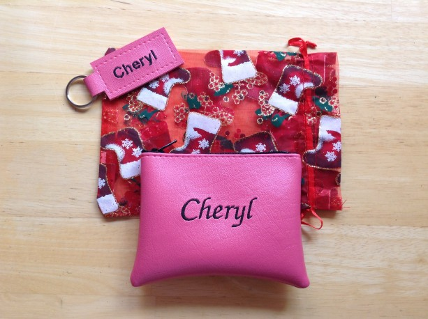 Embroidered Wallet and keychain with Christmas organza stocking gift bag