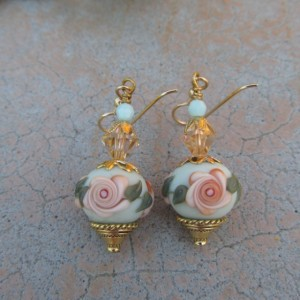 Apricot Rose Earrings