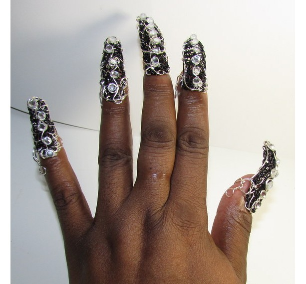 Black fingernail jewelry to protect and style your nails for any occasion!  mothers day christmas bridal drag gothic halloween