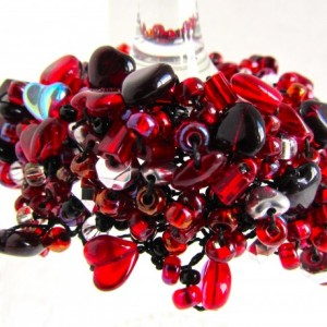 Red black silver bead bracelet