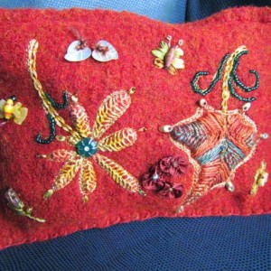 Red Felted wool purse