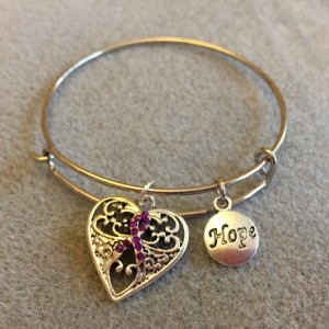 Purple Ribbon Silver Filigree Heart Charm Bracelet