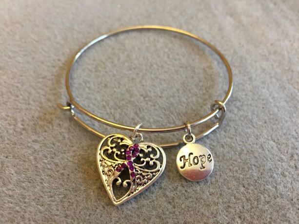 Purple Ribbon Silver Filigree Heart Charm Bracelet