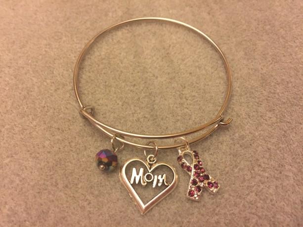 Mom Bracelet w/ Sparkly Purple Ribbon Charm