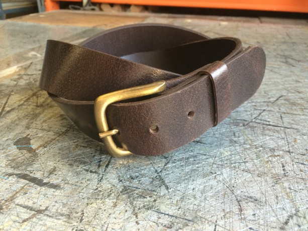 "Genuine Leather Belt, 8-9 oz thickness, 1-1/2"" Width."