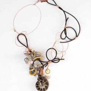 Necklace with ammonite covered with pyrite
